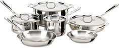 Buy All-Clad 600822 SS Copper Core Bonded Dishwasher Safe Cookware Set, Silver Safest Cookware, Cookware Set, Induction Cookware, Stainless Steel Pot, Pots And Pans Sets, Cooking Supplies, Pan Set, Silver Prices, Time Shop
