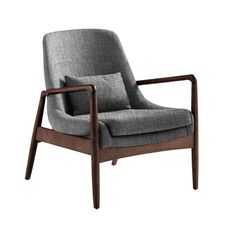 Dixon Mid-century modern grey fabric upholstered club chair with sleek polished angled wood arms in walnut finishing