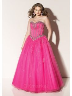 Beaded Satin and Tulle Sweetheart Ball Gown Prom Dresses | OKmarket.com