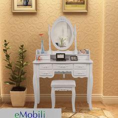 SEA117 Set masa toaleta cu 7 sertare http://www.emobili.ro/cumpara/sea117-set-masa-alba-toaleta-cosmetica-machiaj-oglinda-masuta-160 #eMobili