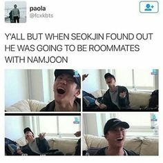 Deal wit it Seokjin! You know Namjin is real! Just kidding lol😸💜 Kookie Bts, Bts Jin, Bts Bangtan Boy, Rapmon, Namjin, Seokjin, Bts Memes, Park Ji Min, Jung Kook