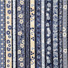 blue Robert Kaufman fabric with flowers & silver USA