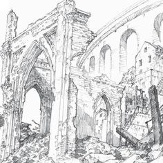 Blue Exorcist: The Movie Scenery Background, Background Drawing, Fantasy City, Fantasy Castle, Line Art Design, Black And White Sketches, Blue Exorcist, City Architecture, Environment Design