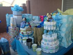 Julian's Baby Shower Gifts (my nephews gifts I made the pamper cake w the bib) SO EXCITED!
