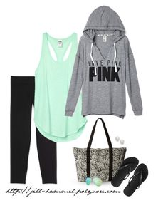 """""""Tunic Tank + PINK Hoodie + Capri Leggings"""" by jillnmitchell ❤ liked on Polyvore featuring Kenneth Jay Lane, Aéropostale, RVCA, Ray-Ban and Havaianas"""