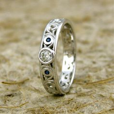 Custom Made Diamond and Blue Sapphire Engagement Ring or Wedding Band in 14K White Gold with Scrolls