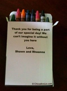 Custom DIY Crayon Boxes for kids at the wedding but use pretty craft paper rather than white
