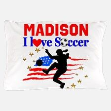 PERSONALIZE SOCCER Pillow Case Your awesome soccer player will love our personalized Soccer Girl Décor, Tees and Gifts. http://www.cafepress.com/sportsstar/13561878 #SoccerGirl #Lovesoccer #Playingsoccer #Girlssoccer #Soccergift