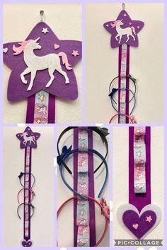 Kids Crafts, Diy Arts And Crafts, Felt Crafts, Organizing Hair Accessories, Kids Hair Accessories, Diy Bow, Diy Ribbon, Diy Hair Bow Holder, Unicorn Crafts