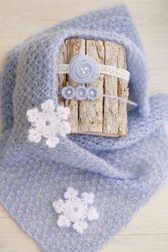 CHRISTMAS SET Knit Blue Newborn Wrap & 2 Handmade Tiebacks Plus 3 Crochet White Snowfalkes / Newborn Winter Set / Newborn Photography Props by SoftButterflyKiss on Etsy
