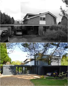A complete reconfiguration, renovation and extension for a property in Haslemere, Surrey House Cladding, Facade House, Home Exterior Makeover, Exterior Remodel, Building Exterior, Building A House, 1960s House Renovation, Rendered Houses, House Extension Design