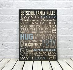 Personalize Family Rules Wood Sign Cabin Sign by MadiKayDesigns
