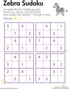 Here's a page with a set of 4x4 sudoku puzzles for challenging kids to use their logical reasoning and problem solving skills. Sudoku Puzzles, Logic Puzzles, Number Puzzles, Puzzles For Kids, Worksheets For Kids, Logic Games, Math Games, Math Activities, Logic Problems