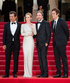 Josh Brolin, Emily Blunt en robe Stella McCartney, Denis Villeneuve et Benicio Del Toro, l'équipe du film Sicario.