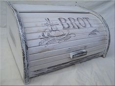 Vintage BREAD BOX bin Brotkasten BROT Unique Wooden beech by old24