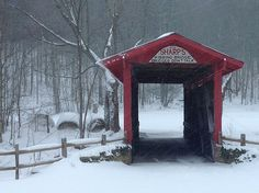 The kissing bridge in snowshoe West Virginia