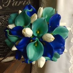 Real Touch Royal Blue Aqua Blue Calla Lily Ivory Tulip Bridal Bouquet Wedding Flower, Royal Blue Aqua Bouquet Calla Lily Tulip Bouquet