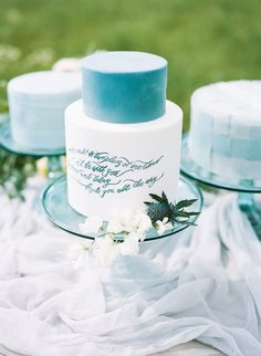 Wedding Cake with Blue Calligraphy | photography by http://heathernanphoto.com/