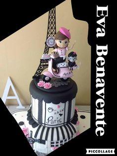Paris cake por Eva Benavente Parisian Party, Fondant, Cupcakes, Birthday Cake, Children, Desserts, Party Ideas, Food, Tour Eiffel