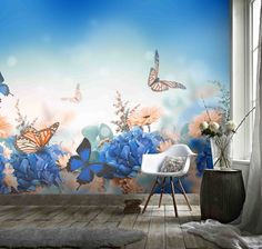 3D Watercolor Floral Blue Butterfly Wallpaper Mural Peel and Stick Wallpaper Removable Wall Prints Stickers B793