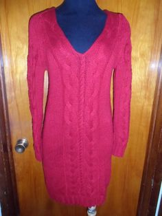 Victoria's Secret Moda International Red V Neck Cable Knit Sweater Dress M New #ModaInternational #SweaterDress #Casual