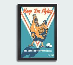 Keep 'Em Flying 12x18 screen print poster by WirtheimDesignStudio