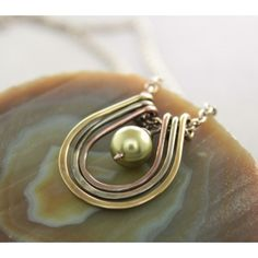 Multicolored hoops pendant with copper, German silver and brass metals with green Swarovski pearl