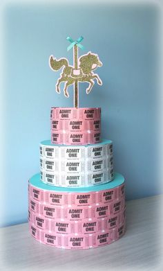 Carnival birthday. Carousel birthday. Ticket cake. Centerpiece. Gold, pink, mint, tiffany blue. Baby shower, birthday. Check out this item in my Etsy shop https://www.etsy.com/listing/209827856/carnival-ticket-cake-3-tier-pink-gold