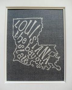 Louisiana the Bayou State  White on Black  8x10 by Mandipidy, $18.00