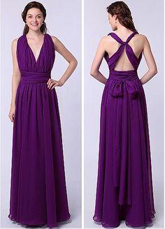 Elegant Chiffon Natural Waistline A-line Convertible Prom Dresses