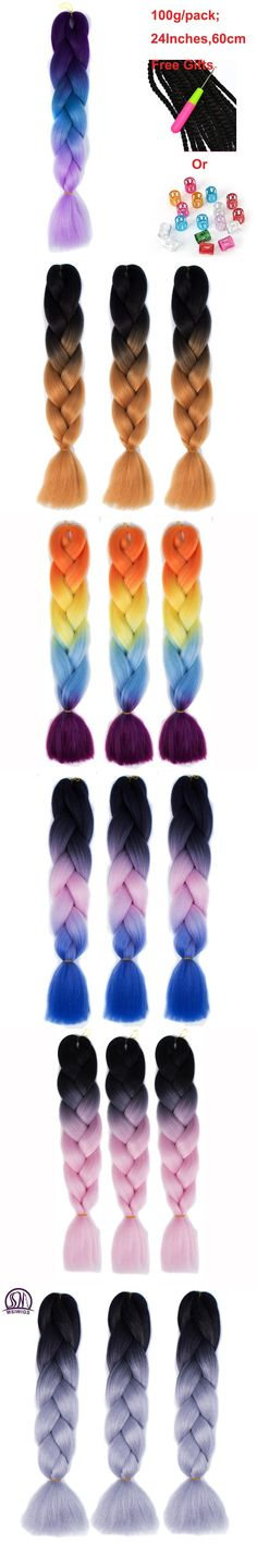 MSIWIGS 24Inch Ombre Jumbo Braid Hair 2 3 4-Tone Twist Hair Extensions Synthetic Crochet Braiding Hair Afro Wig for Women
