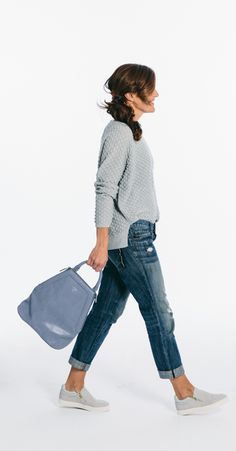 Everything about this looks so comfy =) Reinventing boyfriend jeans for spring with gray accessories.