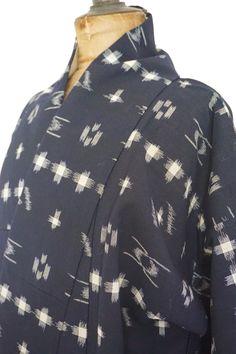IKAT Kimono / Japanese Vintage 297 | Etsy Japanese Textiles, Japanese Kimono, The Right Man, Salon Style, Vintage Kimono, Silk Kimono, Dark Navy Blue, Black Silk, Main Colors