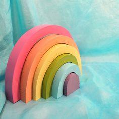 Kids Wooden Toy,  Pastel Rainbow Stacker / Waldorf Toys . $28.00, via Etsy.
