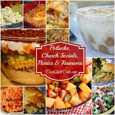 Recipes for Potlucks, Church Socials, Picnics & Reunions and Other Gatherings Favorite dishes from Deep South Dish for your next potluck, church supper, reunion or other gathering - from deviled eggs to hash brown casserole and everything in between. Church Potluck Recipes, Potluck Dinner, Supper Recipes, Potluck Meals, Pot Luck, Cooking For A Crowd, Food For A Crowd, Deep South Dish, Planning Budget