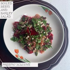 Delicious Salad bursting with flavors. Barley Salad, Warm Salad, How To Boil Beets, Grain Foods, Beet Salad, Light Recipes, Desi, Food To Make, Connect