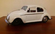 Vintage Tin Toy Car VW Volkswagen Beetle Bug Car, Battery Op, Japan, White