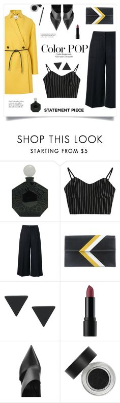 """""""Color Pop!"""" by diane1234 ❤ liked on Polyvore featuring Jean-Charles Brosseau, Kenzo, Tomasini, Bare Escentuals, Balmain, yellow, colorpop, statementpiece and coatcheck"""
