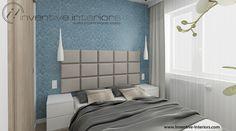 Projekt sypialni Inventive Interiors - jasna sypialnia z niebieskim akcentem