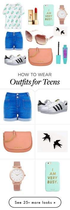"""""""Ready for summer✌"""" by kettica on Polyvore featuring Yves Saint Laurent, ban.do, New Look, adidas Originals, Larsson & Jennings, Michael Kors and Avenue"""