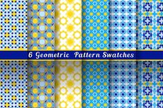 Geometric Blue & Yellow Patterns Graphics Six modern geometric patterns in Middle Eastern tradition. Zip-archive includes EPS-CS (pattern swa by Snowstorm's Box
