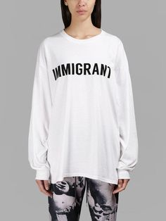 ASHISH ASHISH WOMEN'S WHITE IMMIGRANT LONG SLEEVES T-SHIRT. #ashish #cloth #t-shirts