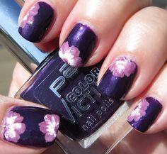 Marias Nail Art and Polish Blog: Purple on purple one-stroke peek-a-boo flowers