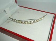 Large Victorian Crystal Set Silver Crescent Brooch