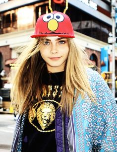 This is funny--my favorite model wearing my daughter's favorites--Lions and Elmo