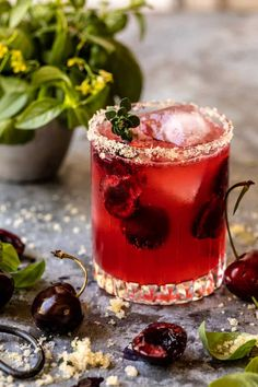 Summer Fruit, Summer Drinks, Fun Drinks, Beverages, Booze Drink, Refreshing Drinks, Frozen Cherries, Sweet Cherries, Brunch Punch