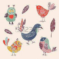 Color vintage cute cartoon birds doodle set. vector illustration Stock Photo - 19870680
