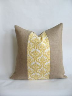 I love this!! Yellow and White Damask Fabric and Burlap Pillow by BouteilleChic, $16.00