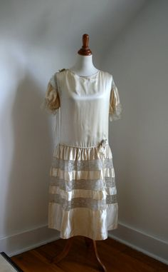1920s Dress Wedding Ivory Satin & Lace by adelinesattic on Etsy, $248.00