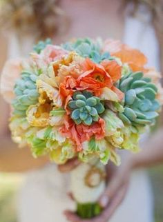 Gorgeous bouquet of flowers and succulents! #wedding #bouquet #succulent